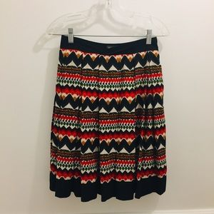 Anthropologie Denpasar Pleated Skirt 2 Aztec Print